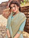 photo of Art Silk Cyan Fancy Weaving Work Function Wear Designer Saree