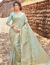 image of Art Silk Cyan Fancy Weaving Work Function Wear Designer Saree