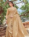 image of Art Silk Function Wear Designer Fancy Weaving Work Saree In Beige