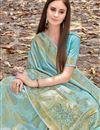 photo of Art Silk Function Wear Designer Cyan Fancy Weaving Work Saree