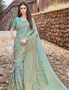 image of Art Silk Function Wear Designer Cyan Fancy Weaving Work Saree