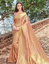 image of Function Wear Designer Pink Fancy Weaving Work Saree In Art Silk