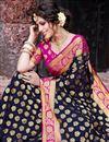 photo of Sangeet Wear Art Silk Navy Blue Color Trendy Weaving Work Saree