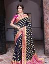 image of Sangeet Wear Art Silk Navy Blue Color Trendy Weaving Work Saree