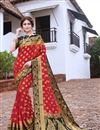image of Art Silk Sangeet Wear Trendy Weaving Work Saree In Red Color