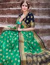 photo of Trendy Weaving Work Green Color Sangeet Wear Art Silk Saree