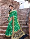 image of Trendy Weaving Work Green Color Sangeet Wear Art Silk Saree
