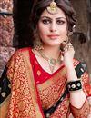 photo of Trendy Weaving Work Black Color Sangeet Wear Art Silk Saree