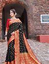 image of Sangeet Wear Art Silk Trendy Weaving Work Saree In Black Color