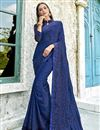 image of Blue Party Wear Satin Silk Fabric Thread Embroidered Saree