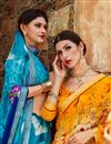 photo of Daily Wear Yellow Printed Saree In Georgette Fabric
