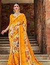 image of Daily Wear Yellow Printed Saree In Georgette Fabric