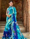 image of Georgette Fabric Sky Blue Printed Daily Wear Saree