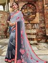 image of Georgette Fabric Daily Wear Printed Saree In Grey