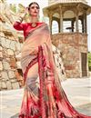 image of Peach Daily Wear Georgette Fabric Printed Saree