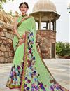 image of Daily Wear Georgette Fabric Printed Saree In Sea Green
