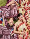 photo of Daily Wear Wine Color Georgette Fabric Printed Saree