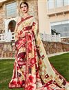 image of Beige Daily Wear Printed Saree In Georgette Fabric