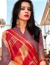 photo of Art Silk Lavender Color Party Style Plain Saree With Weaving Border