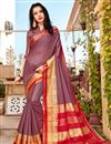 image of Art Silk Lavender Color Party Style Plain Saree With Weaving Border