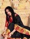 photo of Party Style Art Silk Black Plain Saree With Weaving Border