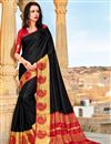 image of Party Style Art Silk Black Plain Saree With Weaving Border