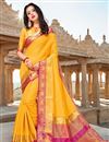 image of Art Silk Party Style Plain Saree In Yellow With Weaving Border