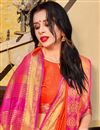 photo of Orange Party Style Plain Art Silk Saree With Weaving Border