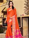 image of Orange Party Style Plain Art Silk Saree With Weaving Border