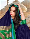 photo of Navy Blue Party Style Art Silk Plain Saree With Weaving Border
