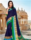 image of Navy Blue Party Style Art Silk Plain Saree With Weaving Border