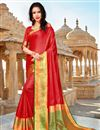 image of Red Art Silk Party Style Plain Saree With Weaving Border