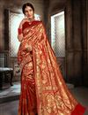 image of Festive Style Art Silk Red Weaving Work Saree