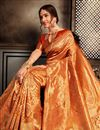photo of Weaving Work Orange Festive Style Art Silk Saree