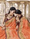 photo of Traditional Wear Orange Fancy Embroidered Saree In Art Silk