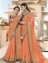 image of Traditional Wear Orange Fancy Embroidered Saree In Art Silk