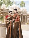image of Traditional Wear Chiffon Brown Fancy Embroidered Saree