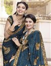 photo of Satin Silk Traditional Wear Fancy Embroidered Saree In Navy Blue