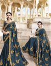 image of Satin Silk Traditional Wear Fancy Embroidered Saree In Navy Blue