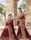 image of Fancy Embroidered Maroon Traditional Wear Georgette Saree