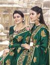 photo of Dark Green Traditional Wear Satin Silk Fancy Embroidered Saree