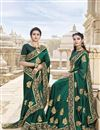 image of Dark Green Traditional Wear Satin Silk Fancy Embroidered Saree