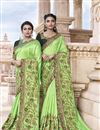 image of Traditional Wear Art Silk Fancy Embroidered Saree In Sea Green