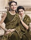 photo of Mehendi Green Georgette Fancy Embroidered Traditional Wear Saree