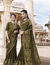 image of Mehendi Green Georgette Fancy Embroidered Traditional Wear Saree