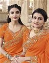 photo of Orange Traditional Wear Fancy Embroidered Saree In Georgette