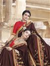 photo of Art Silk Traditional Wear Maroon Fancy Embroidered Saree