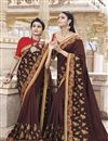 image of Art Silk Traditional Wear Maroon Fancy Embroidered Saree