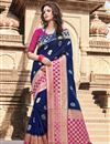 image of Art Silk Navy Blue Weaving Work Traditional Wear Saree