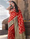image of Traditional Wear Red Weaving Work Saree In Art Silk